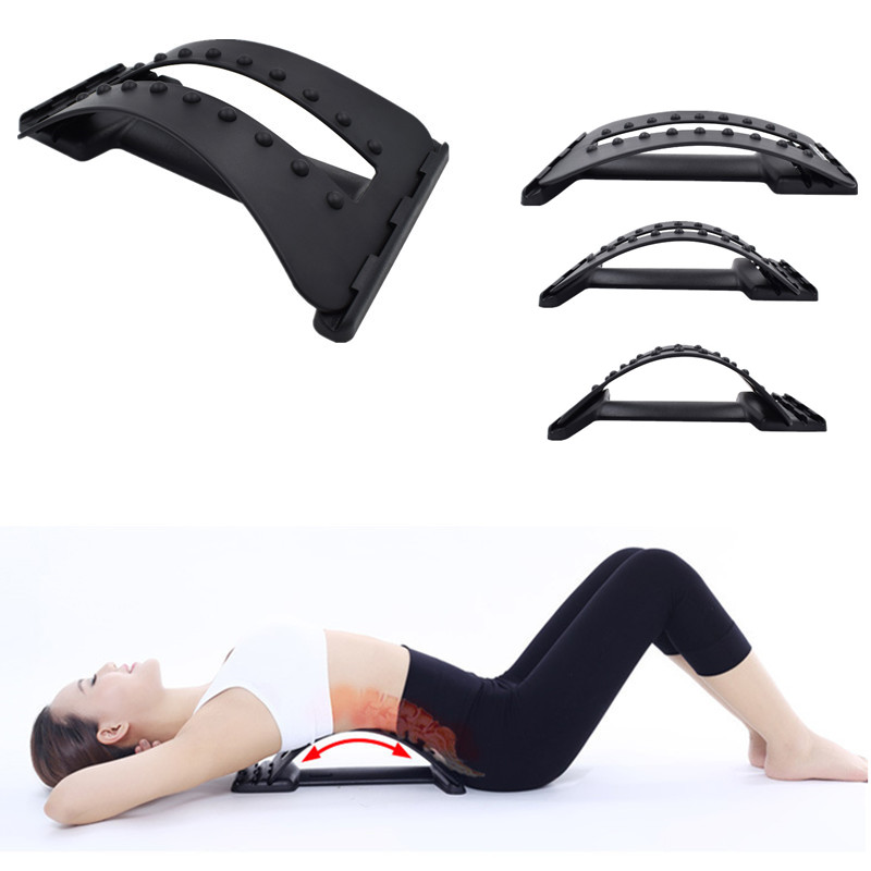 Back Massage Stretcher Stretching Magic Lumbar Support Waist Neck Relax Mate Device Spine Pain Relief Chiropractic H0182 manual inflatable spine pain relief back massage cushion lumbar traction stretching device waist spine relax health care