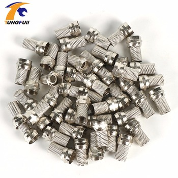 High quality 100 Pcs Twist on RG6 F Type Coaxial Cable Connector Plugs Brass materials singnal Line connector Copper Galvanized