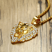 Gold Color Lion Head Pendant Stainless Steel Male CZ Necklace Pendants Mens Fashion Jewelry 60cm Chain for Free