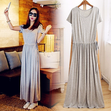 Summer dress  long for beach club summer women casual short sleeve solid modal ouc2479