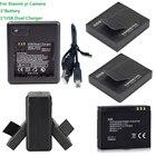 For Xiaomi Yi Battery 3PCS 1100 mAh Xiao yi Rechargable Batteries+Dual Charger+USB Cable For Xiaomi Yi Action Sports Accessories