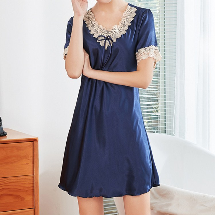 2019 Hot Sale Summer Sexy V-Neck Mini Sleepdress Female Patchwork Lace Slim Thin   Nightgowns