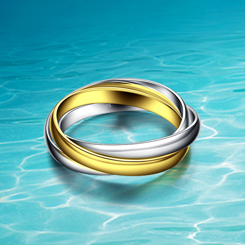 women's 925 sterling silver rings, fashion three-ring silver ring, 24 k gold plating, classic contracted design jewelry