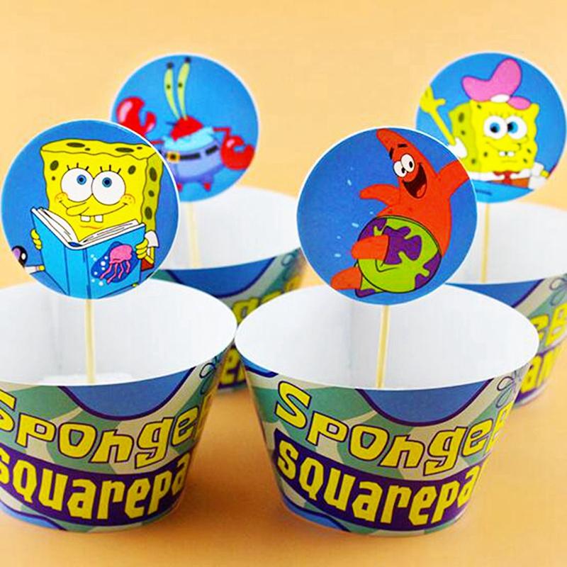 120 Pcs Kartun Spongebob Squarepants Pembungkus Cupcake Toppers Baby