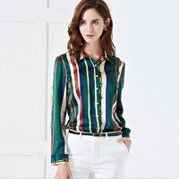MIKIYPAN 2019 Luxury Real silk blouse women OFFICE LADY elegant shirts with Fashion striped 92% silk blouses S 2XL plus size