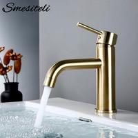 Smesiteli-Grifo dorado para lavabo de baño, grifería redonda, pequeña de un solo mando, mezclador de agua caliente y fría
