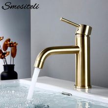 Smesiteli Basin Faucets Brush Gold Bathroom Faucet Round Single Handle Basin Mixer Tap Bathroom Hot and Cold Small Sink Faucet free shipping gold color bathroom faucet lavatory sink basin faucets mixer tap single handle cold hot water faucet high quality