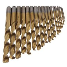 Special Offer Real Power Tool Herramientas Tool 19pcs Hss Titanium Twist Drills Set Golden Straight Shank Spiral Drill