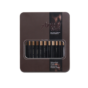 Image 5 - 12 Pcs/set many types nylon hair of painting brush Iron box Artist Paint Brushes Set for Watercolor Oil Acrylic Gouache Painting