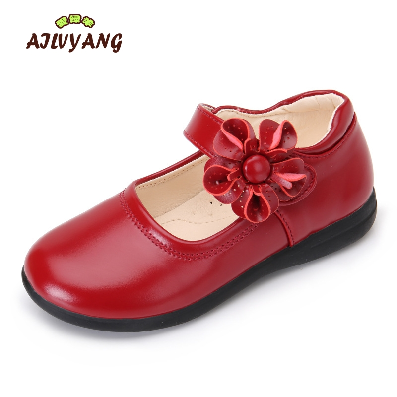 Girls Autumn Leather Shoes Child Princes Flower Fashion Leather Shoes Little Kids Flats Single Students Shoes