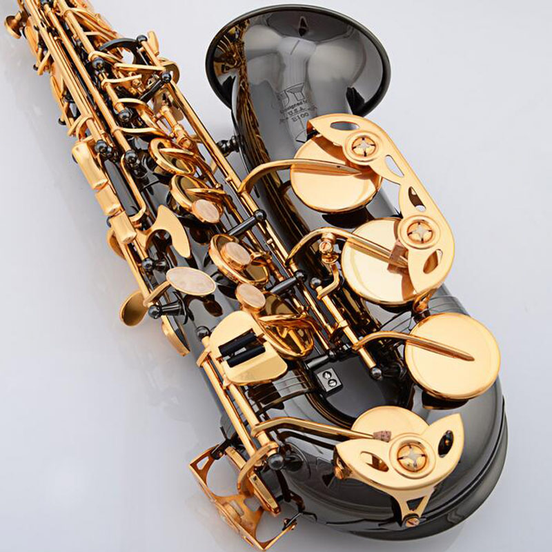 Free shipping Alto saxophone Eb Black Nickel Gold E Alto Sax instruments playing professional gold electrophoresis pipe fitting