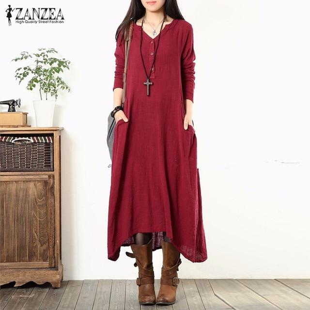 ZANZEA Brand 2016 Women Dress Vintage Casual Loose Vestidos V Neck Long Sleeve Pockets Asymmetrical Hem Solid Long Maxi Dresses