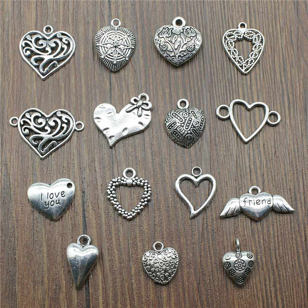 10pcs Pendants Jewelry Accessories Small Heart Charms For DIY Jewelry Making Charms Antique Silver Color Heart Charms