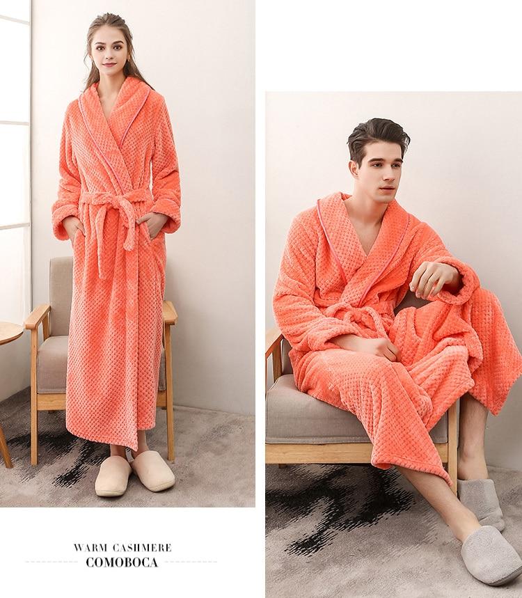 Winter Male Femlae Bathrobe Flannel Thick Robe Long Sleeve Soft Warm Bathrobe Men Women Home Wear Gown Robes Dressing Gown     5