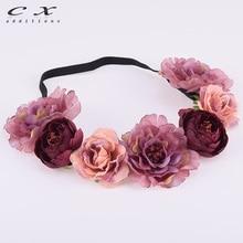 CXADDITIONS Peony Camell Headband Floral Flower Crown Boho Headwrap Bridesmaid Elastic Kids Girl Wedding Photography Hairband