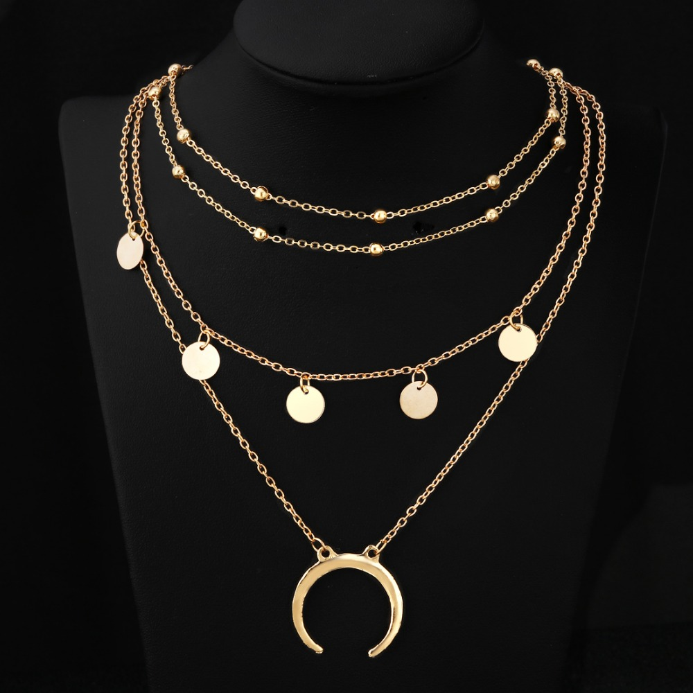 MINHIN Moon Pendant Choker Necklace Charm Gold Beauty Wedding Jewelry Charms Necklace For Women Girls