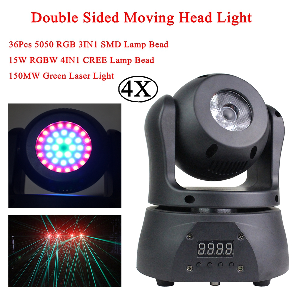 4Pcs/Lot Pocket Double Sided Moving Head Light 30W Mini Strobe Wash Beam Laser 4IN1 Music Stage Effect Light Sound Party Light