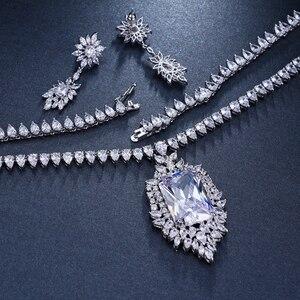 Image 5 - Emmaya Zircons AAA Quality Cubic Zirconia Big Rectangul Royal Blue Bridal Wedding Evening Earring Necklace Jewelry Set For Women