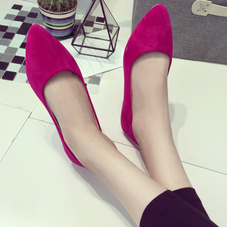 2015 European American fashion models fall shoes shallow mouth pointed flat suede candy colored 5 - ZYF store