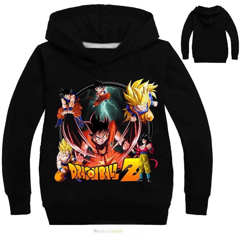 3-16 years Kids Cartoon Dragon Ball Goku Hoodie Black Hoodies Boys Spring Long Sleeve Sweatshirt kong fu Tops