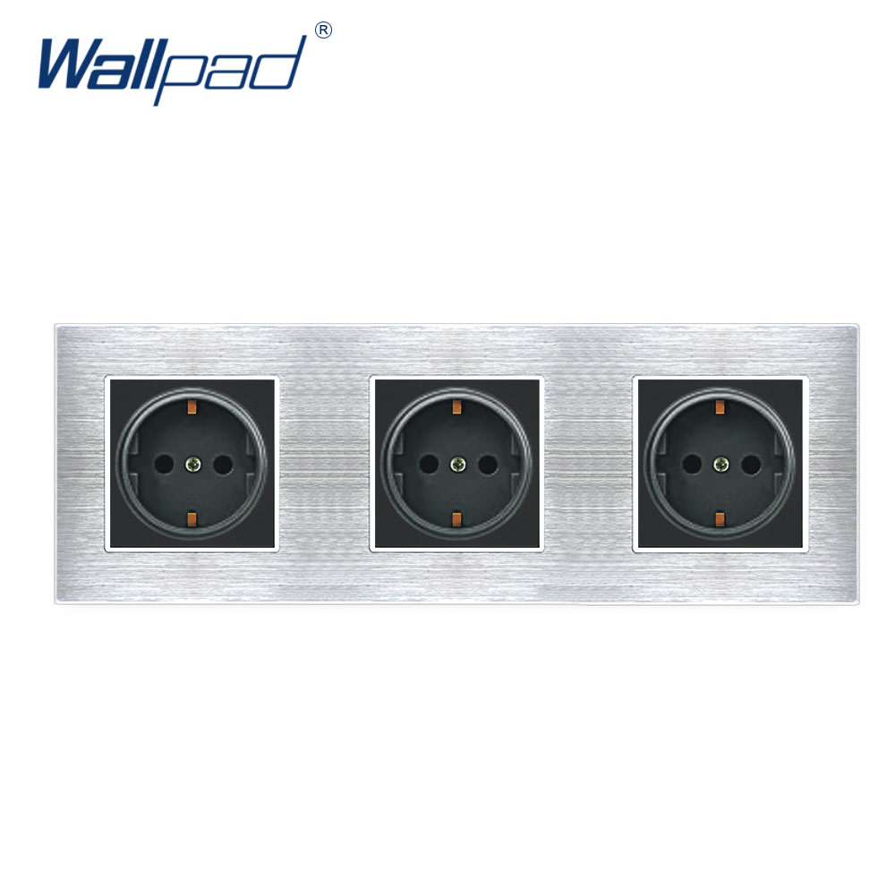 3 EU Socket German Standard Wallpad Luxury Wall Outlet Satin Metal Panel 258*86mm Wall Power Outlet Schuko british mk british unit power supply socket metal 13a power outlet british standard unit socket