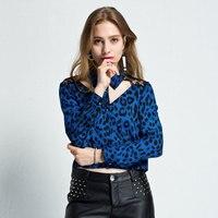 Sexy che basa la camicia primavera e autunno new fashion blu stampa pizzo leopardo cava camicia a maniche lunghe cuciture