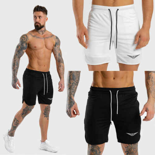 Stylish Simple Men's Breathable Lace-up Pattern Shorts Quick-drying Fitness Bodybuilding Training Gym Sports Shorts M-XXL