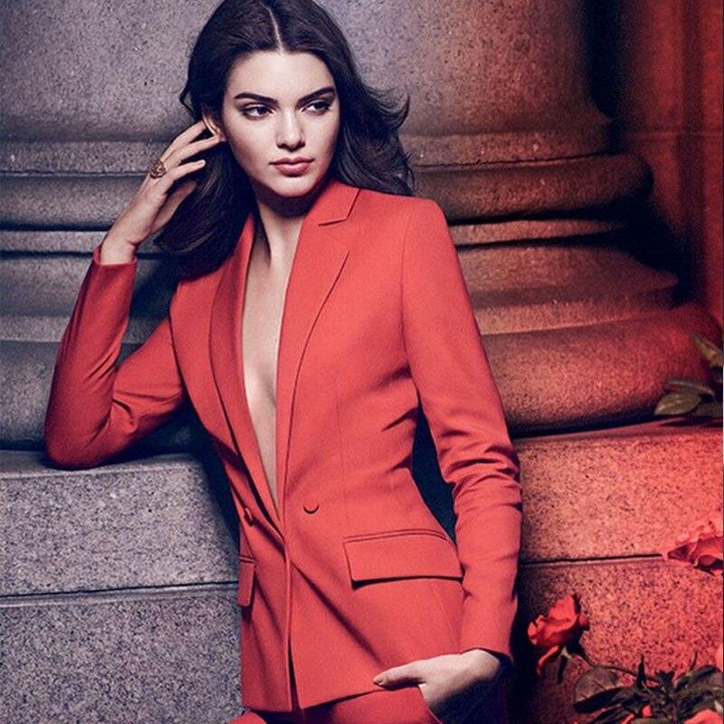 NEW fashion orange red womens business suits 2 piece blazer set ladies elegant pant suit female office uniform trouser suit