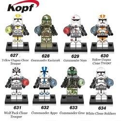 Blocs de construction espace guerres blanc jaune Utapau Clone Trooper soldats commandant Kashyyyyk Appo briques jouets pour enfants X0162