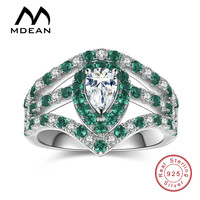 MDEAN 925 Solid Sterling Silver Rings Emerald Green Stone CZ Diamond Jewelry Wedding Rings For Women