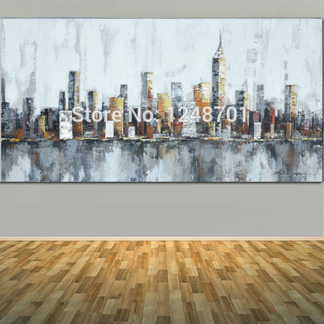 City New York Oil Painting On Canvas Wall Art For Living: 2017 New York Skyline Cityscape Architecture Abstract Wall