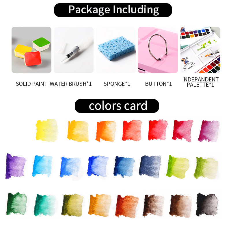 BGLN 24Colors Professional Solid Watercolor Painting Set Iron Box Bright Color Portable Watercolor Pigment For Artist Supplies in Water Color from Office School Supplies