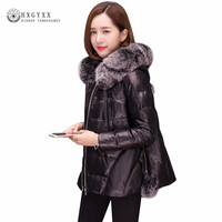 Women Genuine Leather Jacket 2018 Winter Long Sleeve Duck Down Outerwear Fox Fur Hooded Slim Cloak Sheepskin Coats Warm Okb248