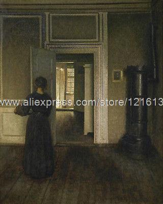 Hammershol Vilhelm Interior With Stove Hand Painted Windows Western  Paintings Free Shipping Pop Bathroom Background High. Online Get Cheap Western Bathroom Mirrors  Aliexpress com