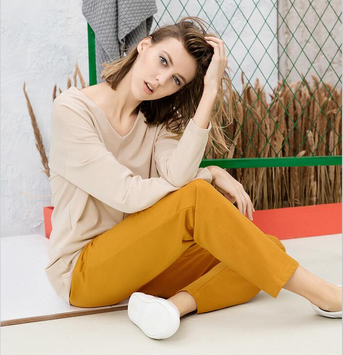 Sleepwear female 100 long sleeve cotton twinset V neck 100 loose cotton casual lounge set thin
