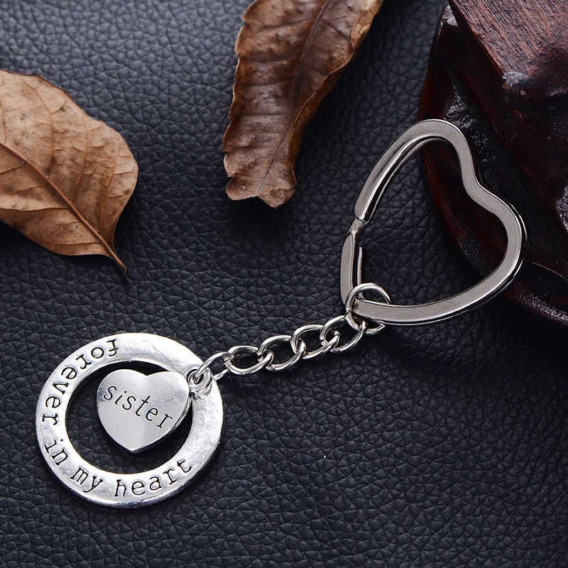 """XIAOJINGLING Neue Modische Schlüsselbund Mode Kreative Herz Schlüsselring """"Schwester Für Immer in meinem herzen"""" Liebe Keyfob Key Kette Geburtstag geschenke"""
