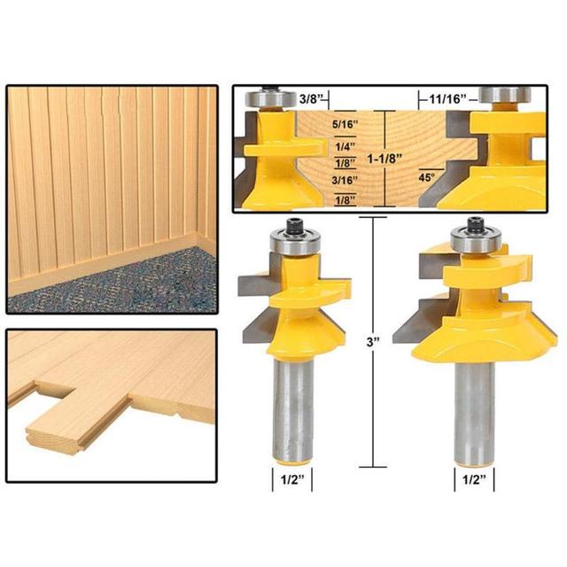 2Pcs 1/2'' Shank Blade Cutter Panel Cabinet Tongue Groove Router Bits Set  Milling cutter Power Tools Door knife Wood Cutter