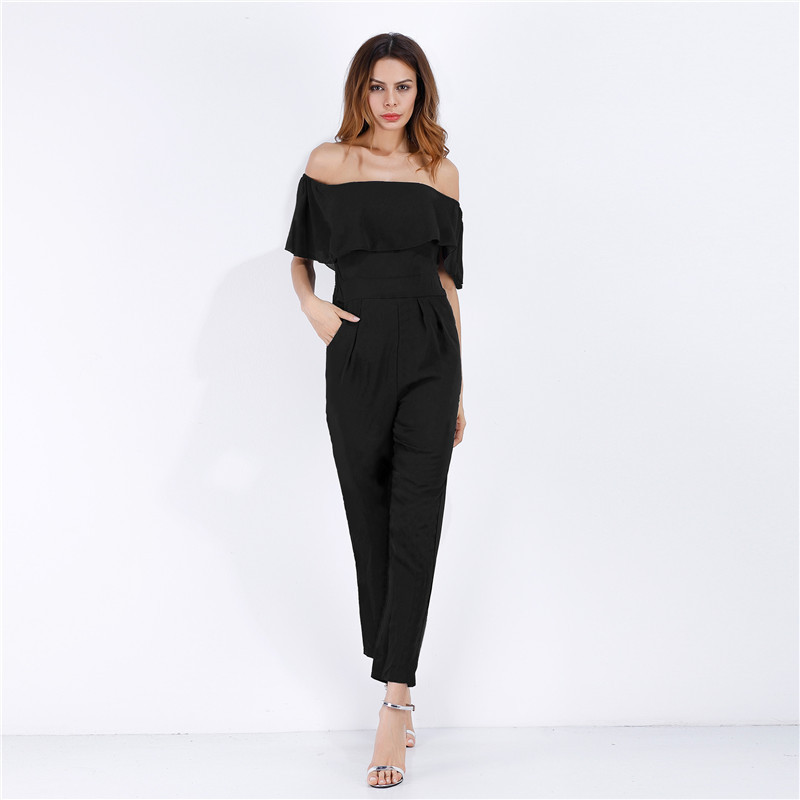 MUXU black jumpsuit combishort body suits backless bodysuit europe and the united states jumpsuits rompers overall one piece