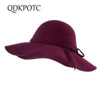 QDKPOTC Fashion 100% Wool Women's Fedoras Girls Felt Hat Trilby Gorra Toca Sombrero Elegant Rope Decoration Cap