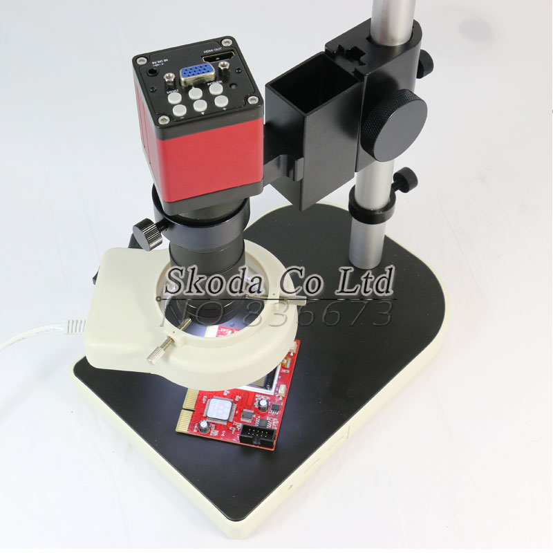 <font><b>Microscope</b></font> sets HD 13MP 60F/S HDMI VGA Industrial <font><b>Microscope</b></font> Camera+130X C mount lens+56 LED ring Light+stand holder