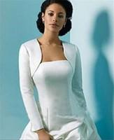 Cheap Long Sleeves Wedding Jacket Wraps Bolero Satin Women Winter Wedding Cape Wrap Shrug For Evening