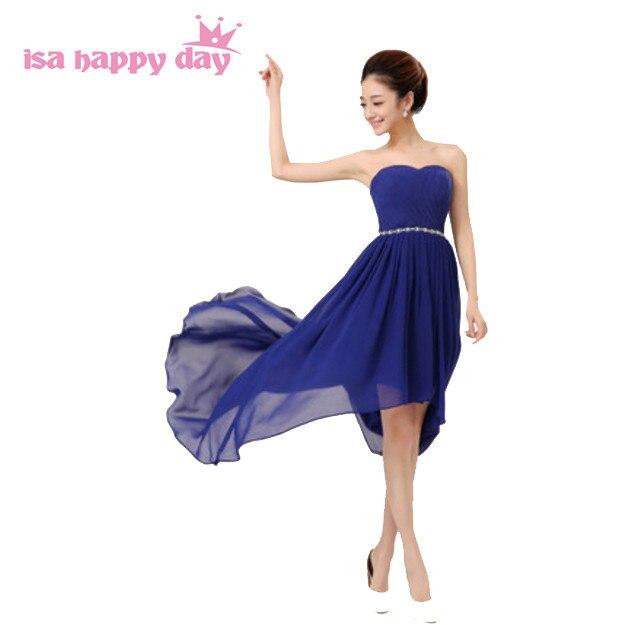 a1f03e79d8 royal blue red cheap high low strapless short front long back chiffon  bridesmaid brides maid dresses