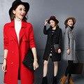 La primavera Y El Otoño de Las Mujeres Abrigo de Lana de Tejer Moda Lapels Trench Largo Pure Color prendas de Vestir Exteriores de Las Señoras Hizo Punto la Rebeca Femenina