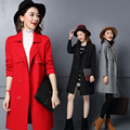 Spring And Autumn Women's Knitting Wool Coat Fashion Trench Lapels Long Pure Color Female Outerwear Ladies Knitted Cardigan
