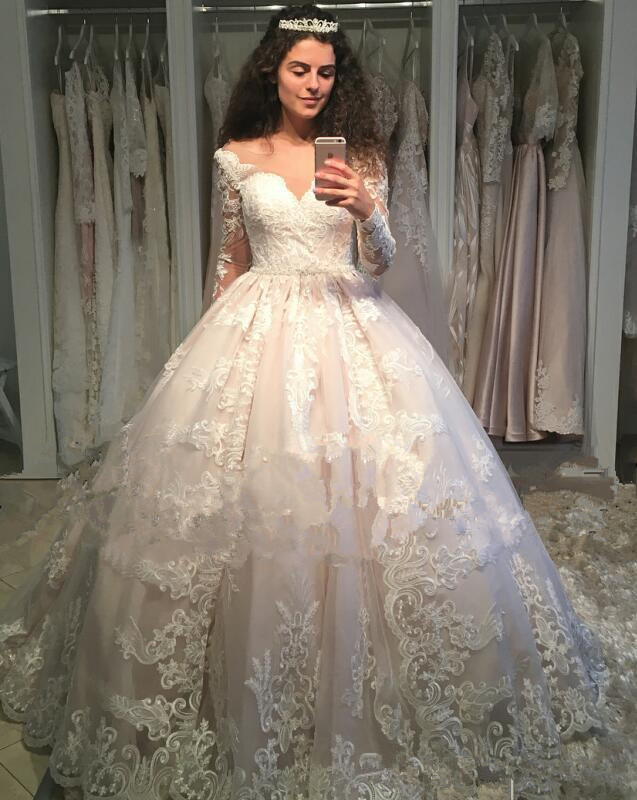 Retro Lace Wedding Dresses Vintage Long Sleeves Princess Ball Gown Bridal Gowns Jewel Neck Sweep Train Dubai Royal Wedding Gowns Wedding Dresses Aliexpress,Dress To Wear To A Wedding In November