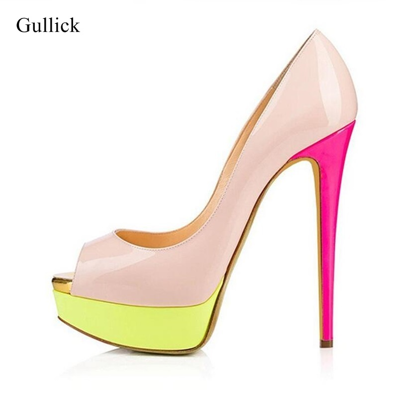 e091d1ee60f5 Plus Size 13 Peep toe Women Platform Pumps Pink Heels Patent Leather  Slip-on High Stiletto Heels Dress Shoes Patchwork Pumps