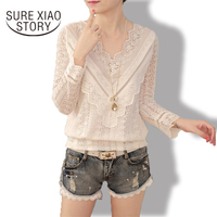 2016 New Arrival Hot Sale Spring And Autumn Korean Fashion Women Blouse V Neck Long Sleeve
