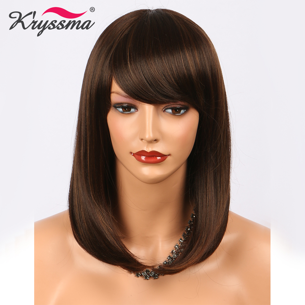 Short Brown Wig Straight Synthetic Hair Wigs for Women Bob Wigs with Bangs 14 Inches Highlight Blonde Heat Resistant Fiber 网 红 小 姐姐