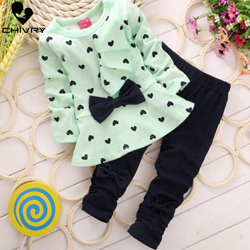 >2Pcs Newborn Infant <font><b>Baby</b></font> <font><b>Girls</b></font> Clothes Set Spring Autumn Toddler <font><b>Girls</b></font> Heart Print Bow Dress Tops + Solid Pants <font><b>Kids</b></font> Cloth Sets