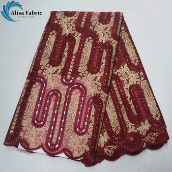 Latest nigerian guipure organza lace fabric high quality embroidery african dry laces fabric with stones 5 yards/piece for dress
